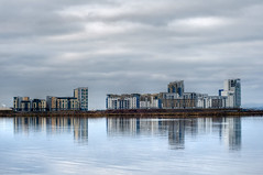 Western Harbour, Leith (Surely Not) Tags: sea reflection building water docks scotland nikon edinburgh harbour moo western leith d300 yourphototips thephotoproject
