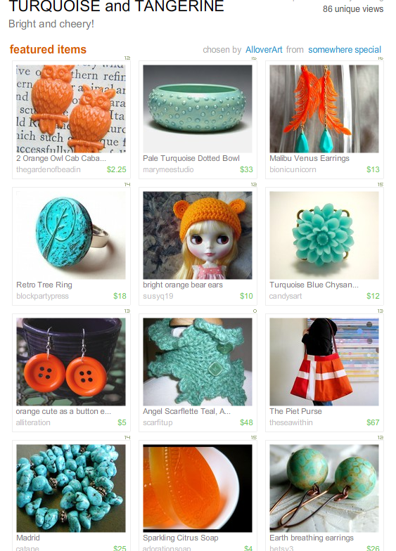 Turquoise & Tangerine Treasury by AlloverArt