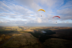 Floating in the afternoon sun, paragliding (purplemattfish) Tags: winter sunset cold canon flying moss yorkshire 5d paragliding moor holme 1635mmf28l canonef1635mmf28lusm