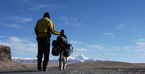going with the bike for a walk :-) on 4800 m, Tibet, -10°C Color version by you.