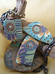Copper Gears (julie_picarello) Tags: house yellow beads julie jewelry clay copper designs rivet polymer gane mokume picarello
