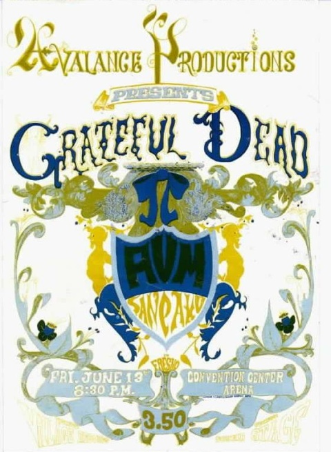 Grateful Dead poster - 6/13/69 Convention Center, Fresno, California [from www.deadlists.com]