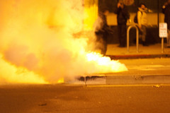 Tear Gas, Oakland Riots (Thomas Hawk) Tags: california usa america oakland riot unitedstates unitedstatesofamerica protest bart eastbay riots downtownoakland teargas bartpolice oscargrant oaklandriot oaklandriot2009 oaklandriots2009 oscargrantriots oaklandriots