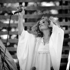 Alison Goldfrapp (Greg76) Tags: portrait bw white topv111 festival female hair concert curly squareformat mic 70200mm goldfrapp balatonsound