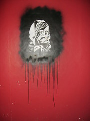 HOODIED GIRL stencil (T  3) Tags: street new uk england urban streetart art wall rural landscape graffiti bedroom stencil paint scene spray drips t3 t3art