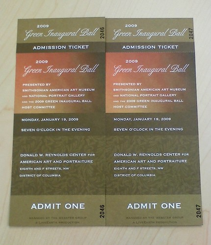 Green Inaugural Ball Tickets