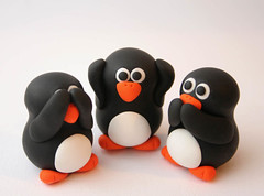 See No Evil Penguins (fliepsiebieps1) Tags: sculpture cute bird birds animal penguin penguins three miniature handmade speaknoevil seenoevil evil hearnoevil polymerclay fimo clay kawaii figure wise sculpey trio figurine pinguin pinguino polymer