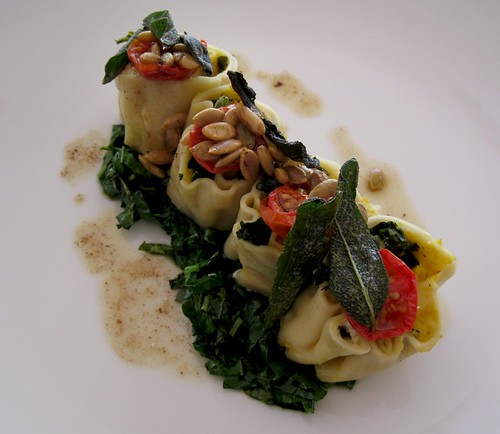Pumpkin rotolo at The Summit restaurant, Sydney