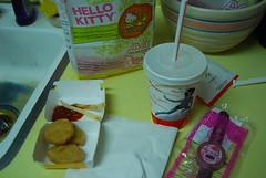 McDonald's. (tessie!) Tags: yellow digital yum sink hellokitty watch mcdonalds fries kindagross chickennuggets nikond40x 70skitchen