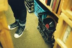 Converse & Crates (lola smalls) Tags: atlanta film minolta ashley muse 35mmfilm recordstore minoltasrt101 blackgirlsrule photographerhadiyahdaché