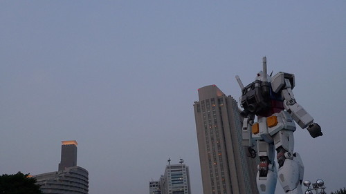 Gundam statue from behind