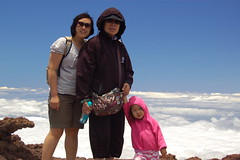 Mama, Grandma, and Aki at the top of Maui