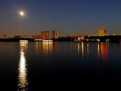 Aboard at blue hour (werner boehm *) Tags: moon mond harbour moscow bluehour moskau moscowriver wernerboehm