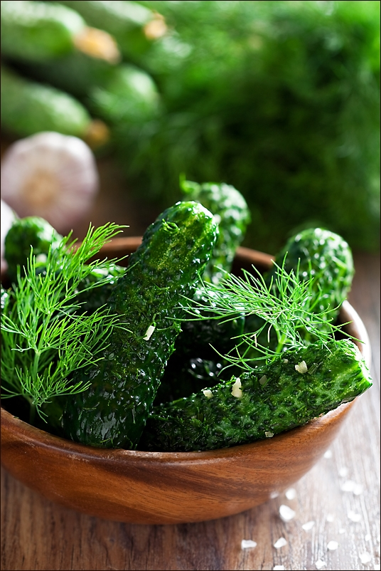 Salting cucumbers