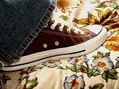 New Kicks/ Nuevos Zapatos (*Vix*) Tags: new brown white shoe cafe ripped trainers clean couch jeans sofa sillon kicks allstar chucks rugged limpio chucktaylor shoelace zapato squeakyclean nuevos rompido agujeta mesclilla needdirt