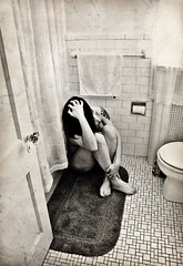 """This beautiful drowning"" / Day 269 Year 2 (sadandbeautiful (Sarah)) Tags: portrait bw woman selfportrait texture me female self bathroom tiles yeartwo 365days 365nudes day269y2 livenameofthebandmom"