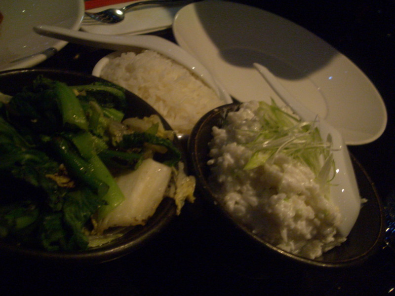 Wok greens, creamed coconut rice