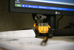 Wall-E and me! (Jesse757) Tags: from windows computer fun toy amazon focus dof desk cubicle disney lg monitor figure xp haha figurine vignette dominion enterprises walle