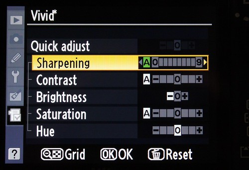 Modified Vivid Picture Control settings on the Nikon D300
