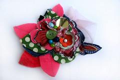 flower brooch 1 (fancypicnic) Tags: pink beads buttons brooch applique fabricflower