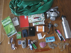 Whats in My Eco Bag? (seaotter22) Tags: verde green bag ipod cellphone moo purse recycle eco whatsinmybag grun kleankanteen greenopia