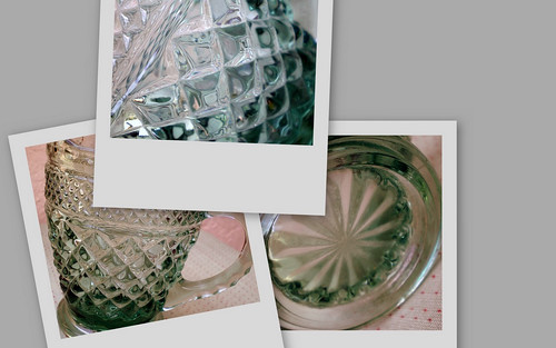Collage of Vintage Blue-Green Pressed Glass Creamer