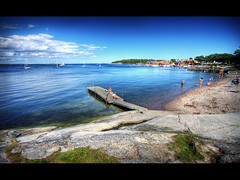 Summer paradise (Kaj Bjurman) Tags: ocean blue summer vacation tourism beach boats island eos sweden stockholm central vivid hdr sandhamn archipelago kaj cs3  sandon sandn photomatix 40d bjurman