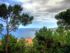 View of the Jounieh bay (MarkGE) Tags: trees sea sky lebanon green water pine clouds landscape bay panoramic hdr jounieh