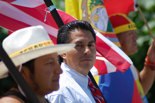 Ecuadorians at their Independence Day parade in New York
