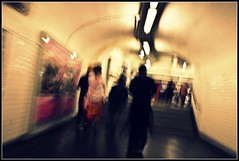 //the city of ghosts (Antonio Quini) Tags: city blur paris france underground neon metro tube tunnel ghosts francia bastille bianco metropolitana città parigi mosso sfocato fantasmi