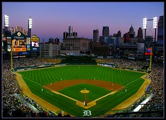 Lets Play Ball (lorainedicerbo) Tags: park sky field ball evening baseball dusk michigan detroit wideangle diamond tigers fans players mound ballpark scoreboard rencen mlb comericapark detroittigers majorleaguebaseball tigersvsroyals