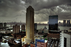 stormy morning (mudpig) Tags: nyc newyorkcity house ny newyork storm tower skyline clouds geotagged vent newjersey jerseycity cityscape power view nightscape manhattan nj newport esb empirestatebuilding trump hdr pavonia hollandtunnel mudpig stevekelley