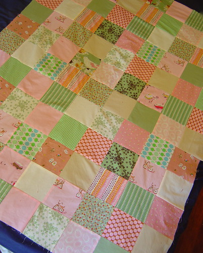 Pink & Green baby quilt top