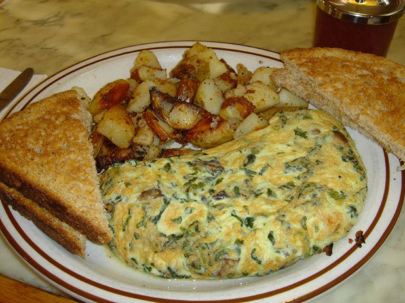 Spinach, Mushroom & Jack Omelet