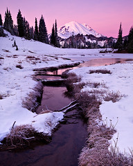 Chinook Pass Sunrise (KPieper) Tags: pink mountain snow cold ice sunrise landscape washington twilight rainier 5d mtrainier chinookpass mrnp tipsoolake kpieper pieperphotographynet