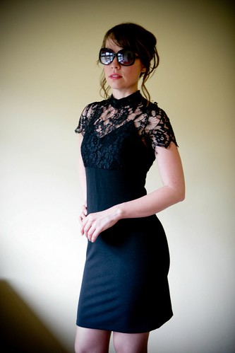 eBay now! 70s mod little black dress with spider lace collar