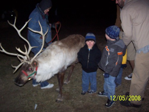 Bradey and Jacob with reindeer