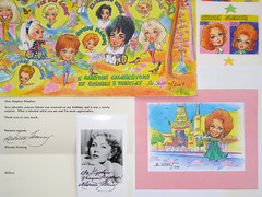 Cartoon Tributes to Rhonda Fleming by Stephen B Whatley (Stephen B Whatley) Tags: california birthday art beauty smile robin birds star artist cartoon happiness bluesky redhead autograph hollywood letter beverlyhills housefinch hollywoodwalkoffame hollywoodboulevard graumanschinesetheatre elizabethtaylor mannschinesetheatre estherwilliams rhondafleming zsazsagabor goldstaraward doloresfuller stephenbwhatley