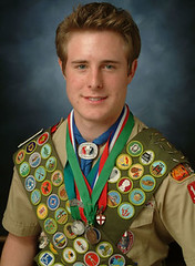 boy scout with all 122 badges