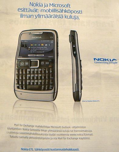 Microsoftin ja Nokian sähköpostin mainontaa