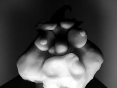 grumpy playdoh man (Maicdlphin) Tags: bw macro face canon funny powershot clay playdoh sick grumpy sickface a590