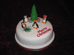Christmas Cake with penguins (Elena's Cakes) Tags: christmas ireland wedding party cake celebration confirmation communion drogheda decorator cakesindrogheda cakesinireland