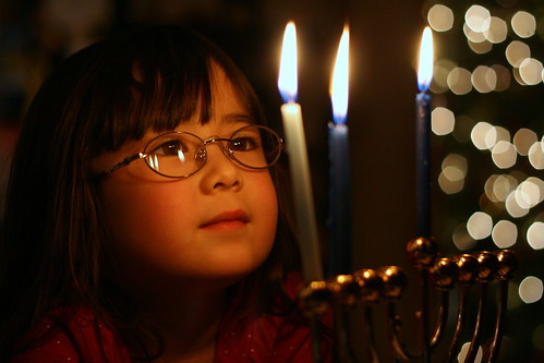 Dova looks at the Chanukah candles