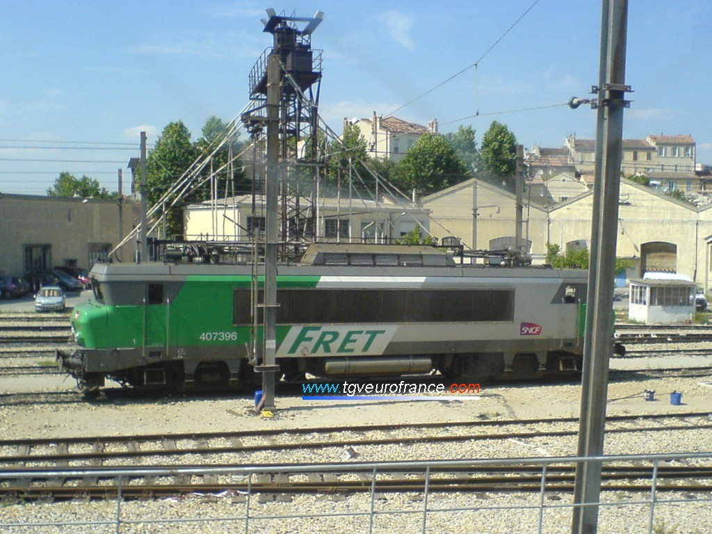 The BB 7396 locomotive with the FRET SNCF livery at Marseille Saint-Charles on May 22, 2008