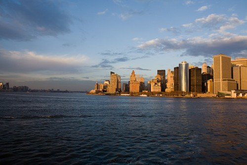 Lower Manhattan in setting sun