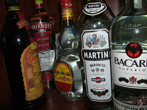 kahlua,smirnoff,camino,martini and bacardi