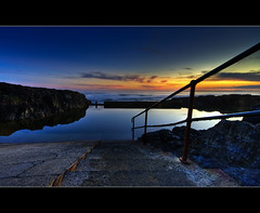 Take a dip - (Rock Pool, Bonville Headland) ([ Kane ]) Tags: pink blue sunset sky water pool rock clouds bath explore nsw kane hdr rockpool reflecton gledhill rockbath aplusphoto kanegledhill kanegledhillphotography