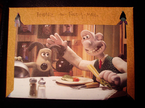 Wallace and Gromit fold and mail, back