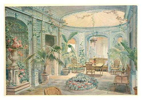 010- Conservatorio e invernadero con palmeras y flores estilo Luis XVI- acuarela 1907
