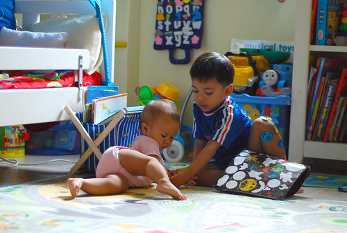 Aniq & Auni playing